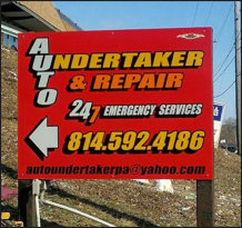 Auto Undertaker Business Sign